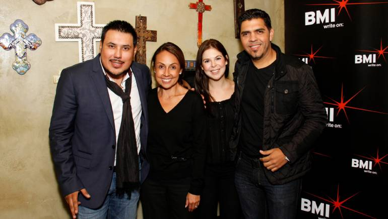 Pictured at the BMI & Los Compositores' Noche Bohemia event at El Mariachi in Encino, Calif. are (L-R): BMI singer-songwriter Alex Rivera; BMI's Delia Orjuela; BMI's Carolina Arenas, Director, Latin Writer/Publisher Relations; BMI singer-songwriter Marco Figueroa.