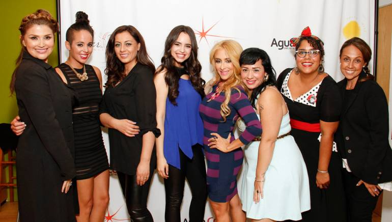 """Pictured (L-R) are: Hasblady Guzman, celebrity hairstylist and Bokaos Salon owner; BMI singer-songwriter Raquel Sofia; Mujer de Fé founder and BMI singer-songwriter Paulina Aguirre; BMI singer-songwriter Sofia Carson; Mujer de Fé board member Christian Solis; BMI singer-songwriter Carla Morrison; BMI singer-songwriter """"La Marisoul"""" of La Santa Cecilia and BMI Vice President, Latin Writer/Publisher Relations and Mujer de Fé board member Delia Orjuela."""