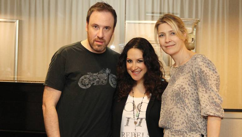 Pictured L-R: Songwriters Andy Hollander and Dana Parish with BMI's Samantha Cox.
