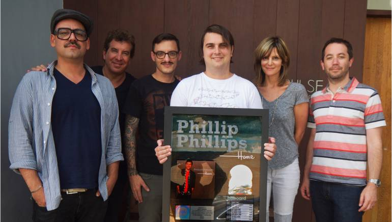 Pictured at Pulse Music Publishing are (L-R): executives Josh Abraham, Scott Cutler, Peter Lloyd, BMI songwriter Drew Pearson, Anne Preven and Jason Bernard.