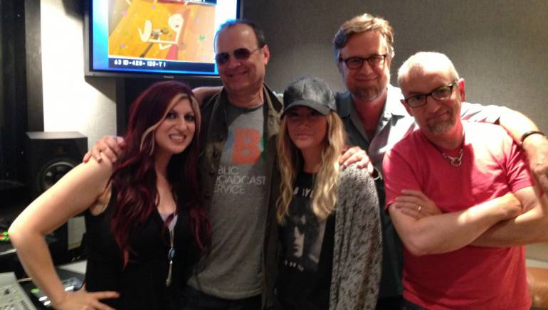 "Shown at the Phineas and Ferb recording session at Disney Studios in Burbank, California are (L-R): BMI Director, Film/TV Relations Anne Cecere; BMI composer and songwriter Danny Jacob; actress and singer Ashley Tisdale and BMI songwriters & co-creators Dan Povenmire and Jeff ""Swampy"" Marsh."