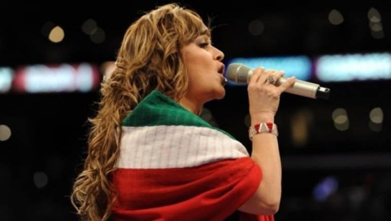 Jenni Rivera singing Mexico's national anthem in September 2010.