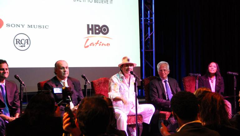 BMI Icon Carlos Santana discusses his forthcoming album and concert at a press conference on November 20, 2013, in Las Vegas during Latin GRAMMY week.