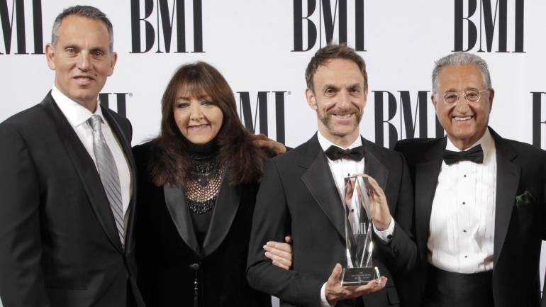 BMI CEO Mike O'Neill; BMI Vice President, Film/TV Relations Doreen Ringer-Ross;  Richard Kirk Award winner Mychael Danna; and BMI President Del Bryant at the 2014 BMI Film and Television Awards, held May 14, 2014 at the Beverly Wilshire Hotel in Beverly Hills.