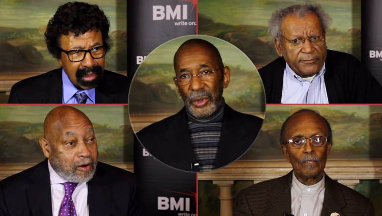 Pictured (clockwise): Jazz Masters David Baker, Anthony Braxton, Jimmy Heath, Kenny Barron and Ron Carter, center.