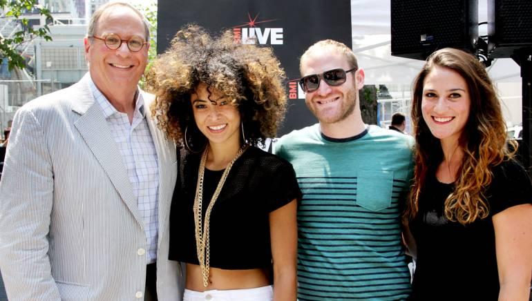 BMI's Charlie Feldman, singer-songwriter Kandace Springs, and BMI's Brandon Haas and Sarah Middough at the Aug. 8 edition of BMI and Silverstein Properties 7@7 Concert Series in downtown Manhattan.