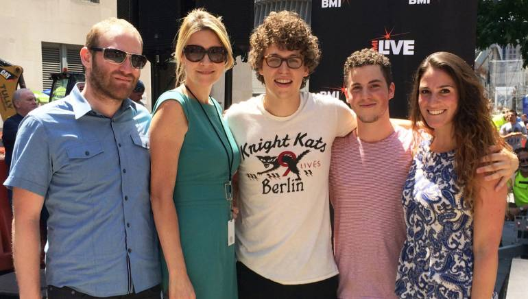 BMI's Brandon Haas and Samantha Cox; Minor Soul's Jack and Max Wagner; and BMI's Sarah Middough gather for a photo after Minor Soul's performance at the July 25 edition of BMI and Silverstein Properties' 7@7 Concert Series in downtown Manhattan.