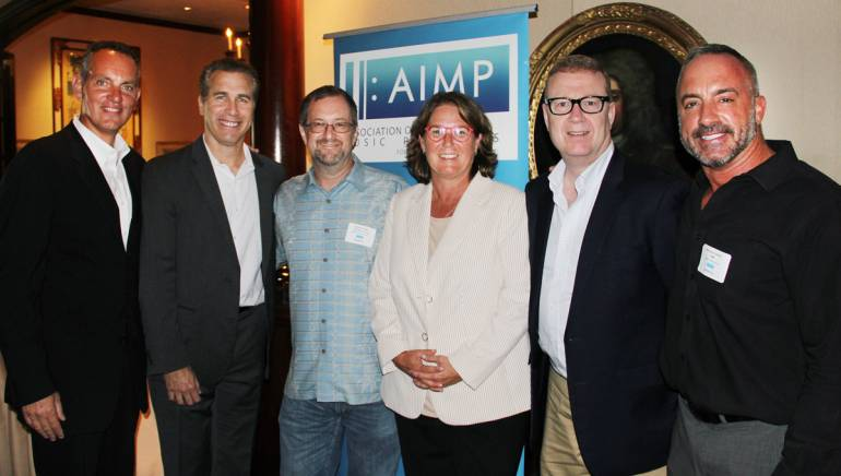 Pictured at the AIMP luncheon preceding the BMI panel (L–R): BMI President and CEO Mike O'Neill; BMI SVP, Licensing, Michael Steinberg; PEN Music Group, Inc. President and AIMP VP, Michael Eames; BMI SVP, Distribution and Administration Services, Alison Smith; BMI SVP and General Counsel, Stuart Rosen; and BMI Executive Director, Distribution and Administration Services and AIMP Secretary, Michael Crepezzi.