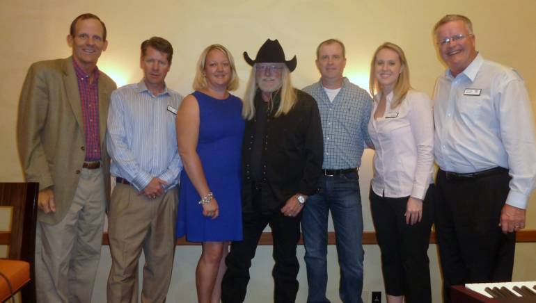 Pictured L-R after the performance are: BMI's Dan Spears, CHLA Past Board Chair and C Lazy U Ranch GM David Craig, CHLA President Amie Mayhew, BMI songwriters John Scott Sherrill and Monty Criswell, CHLA Deputy Director Stephanie Van Cleve, CHLA Board Chair and Doubletree Hotel Denver GM Allen Paty.