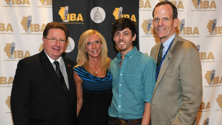 Pictured L-R before the performance are: Illinois Broadcasters Association President Dennis Lyle, IBA Board Chair and WJIL/WJVO GM Sarah Hautala, Chris Janson, and BMI's Dan Spears.