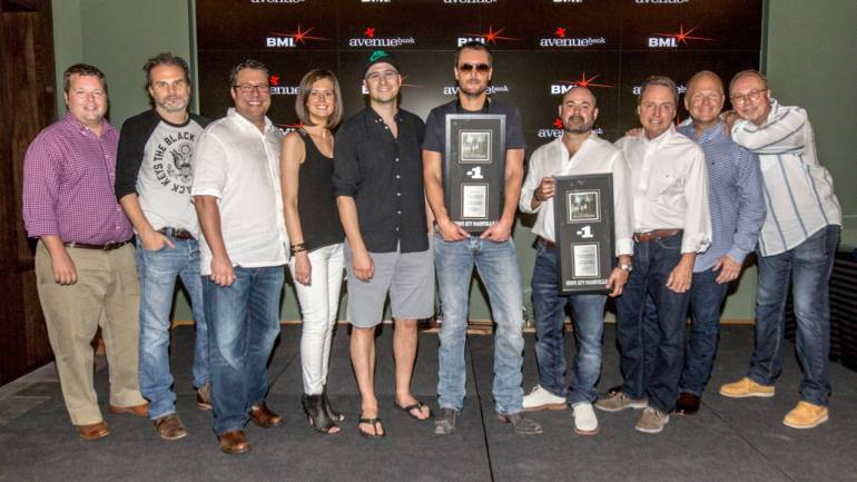 Pictured L-R are: BMI's Bradley Collins, Q Prime's John Peets, Songs of Universal's Kent Earls, Creative Nation's Beth Laird, Luke Laird, Eric Church, Longer and Louder Music's Arturo Buenahora, BMI's Jody Williams, Sony / ATV Tree Publishing's Troy Tomlinson, and Universal Music Group's Mike Dungan.