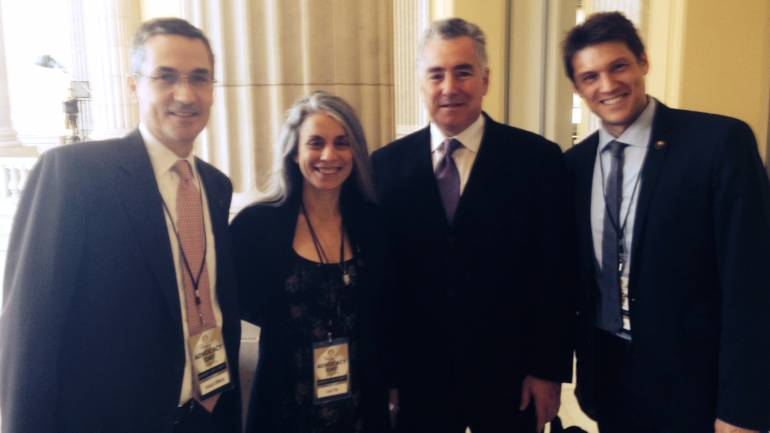 BMI's Richard Conlon and Joe DiMona with NARAs Board member Judy Tint and musician Ben Allison gather in the U.S. House of Representatives Cannon Office Building to lobby Congress.