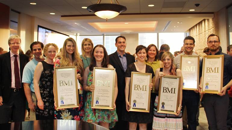 Pictured L-R: BMI's Patrick Cook, Richard Garza, Deirdre Chadwick and Samantha Cox, Katya Stanislavskya, BMI's David Bills, Nicky Phillips, Antonella DeSaverio, Laura Kleinbaum, Arri Lawton Simon and Joseph Allred Olson.