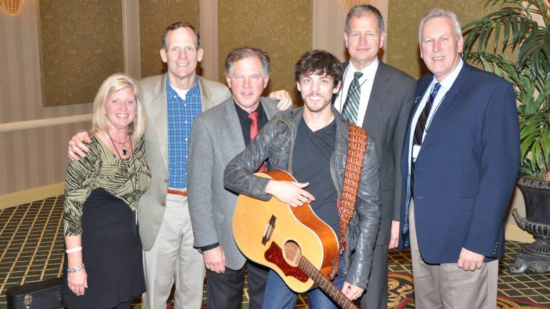 Pictured (L-R) after the show are:  Neuhoff Media-Decatur Promotions Director Tammy Moore, BMI's Dan Spears,  Kaspar Broadcasting owner and conference host Russ Kaspar, BMI songwriter Chris Janson, Finger Lakes Broadcasting President Alan Bishop and Casper Radio Group General Manager Bob Breck.
