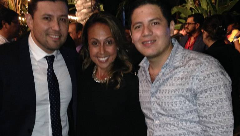 Pictured at the 2014 MonitorLatino Radio Awards (L–R): BMI singer-songwriter Roberto Tapia, BMI's Delia Oruela and BMI singer-songwriter Remmy Valenzuela.