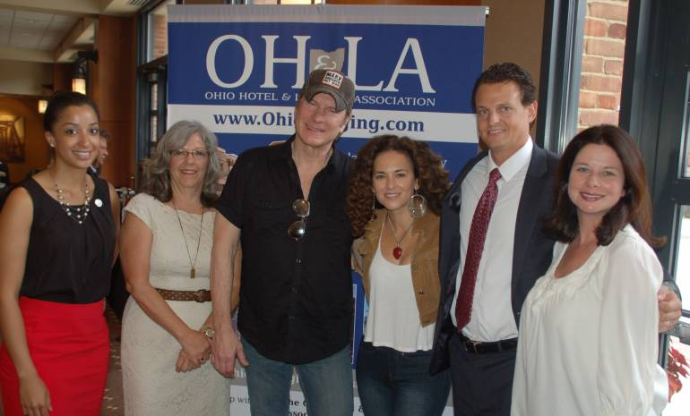 Pictured L-R before the performance are: OH&LA's Communications & Events Coordinator Brittney McIntyre, OH&LA's Director of Operations Cindy Sams, BMI singer/songwriters Will Rambeaux and Sherrie Austin, OH&LA's President & CEO Matthew L. MacLaren, Esq., and BMI's Frost.
