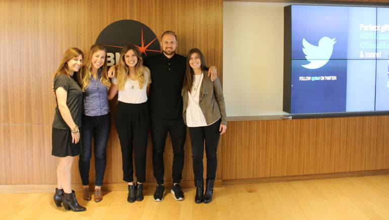 Pictured at the BMI Los Angeles office (L–R): BMI's Tracie Verlinde; BMI singer-songwriter-producer and The Actors Fund instructor Shevy Smith; BMI singer-songwriter and actress Kendall Cluster; BMI's Justin Seiser; and music industry lawyer Kate London.