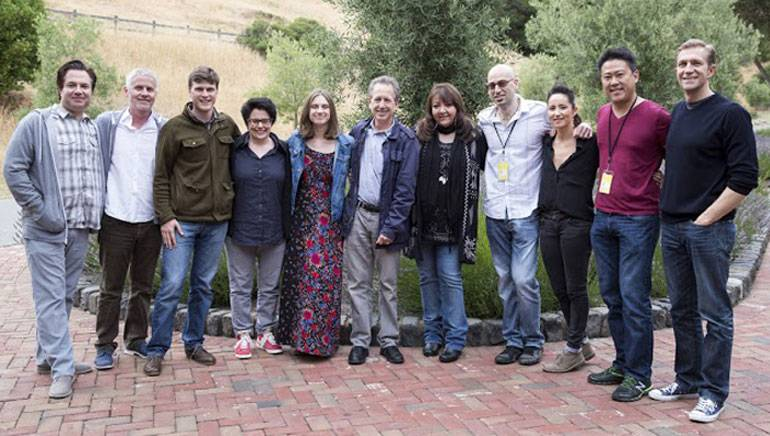 Pictured at Sundance Institute's Film Music Program with Skywalker Sound (L-R) are: Front Row: Sound Designer Kent Sparling, advisor and BMI composer Blake Neely, fellows Ryan Cohan, Josh Moshier, Timo Chen, KT Tunstall, Katy Jarzebowski, Sundance Institute's Founding Director of Feature Film Program, Michelle Satter Michelle Satter, Advisor, BMI composer & Sundance Institute's Film Music Program Director, Peter Golub, Associate Producer Charlotte Moore, Jen Ralston, Eva Rinaldi, Nora Kroll-Rosenbaum, Kloe Zhao and Jenny Stamenson. Back Row: Advisor Robert Messinger, Sound Designer Mac Smith, Sound Designer Chris Barnett, Daniel Kwan, Jordana Spiro, Gabriela Almeida, Sound Designer Doug Murray, General Manager Skywalker Sound Josh Lowden, fellows Nikole Bechwith, Sound Designer Pete Horner and BMI's Doreen Ringer-Ross.