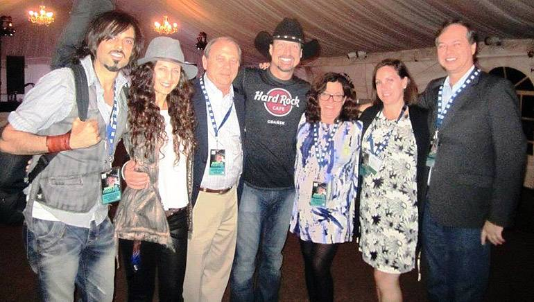 Pictured (L-R) after the performance are: BMI songwriter Rick Caballo, Melissa Core, KBA Chairmen Rick McCue, BMI songwriter Jamie Lee Thurston, KBA Board Member Dawn Sciarrino, National Association of Broadcasters SVP Ann Bobeck and BMI's Rick Schrock.