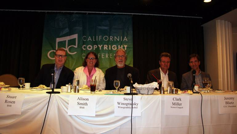 Pictured L-R are:BMI's Stu Rosen and Alison Smith, moderator Steve Winogradsky, Warner Chappell's Clark Miller and CCC President Jeremy Blietz.
