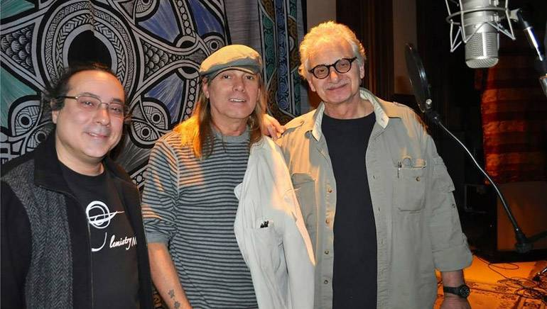 """Composer Shawn K. Clement (left) joins Cheap Trick's Robin Zander (center) and producer Jack Douglas (right) for the re-recording of """"Warrior's Hymn."""""""