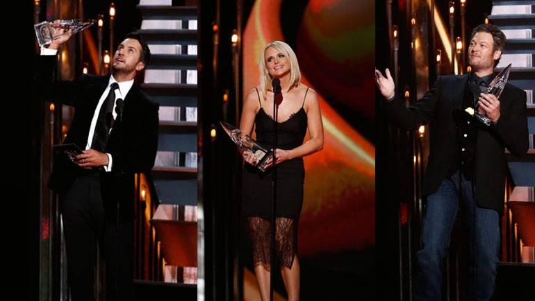 Pictured: Luke Bryan, Miranda Lambert and Blake Shelton