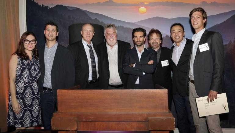 Pictured at the SCL reception (L-R): BMI Senior Director, Film/TV Relations Lisa Feldman; BMI composers Ramin Djawadi and William Ross; SCL President Ashley Irwin; Emmy-nominated BMI composers Daniele Luppi and Bob Christianson; BMI Assistant VP, Film/TV Relations Ray Yee; and Emmy-nominated BMI composer Robert Lydecker.