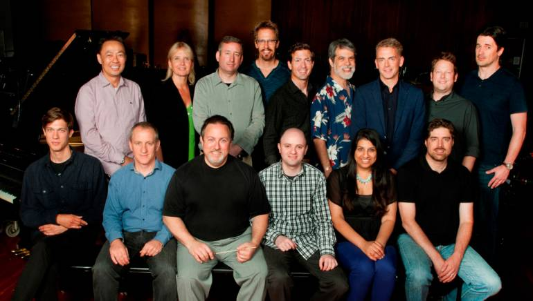 The team behind the 17th Annual BMI Conducting Workshop Series joins the program's participants for a photo. Pictured are (back, L-R):BMI's Ray Yee, participant Lolita Ritmanis, concertmaster Mark Robertson, participants Bryan E. Miller and Dino Meneghin, music editor Chris Ledesma, participants Sheridan Tongue, Lee Sanders and Chris Bacon; (front, L-R): participant Robert Lydecker, music contractor David Low, instructor Lucas Richman, BMI's Philip Shrut, Reema Iqbal and participant Jeff Toyne.