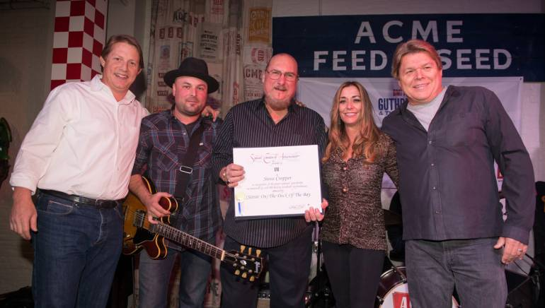 Pictured (L-R): BMI's Clay Bradley, BMI songwriter Guthrie Trapp, BMI songwriter Steve Cropper, BMI's Mary Loving and David Preston.