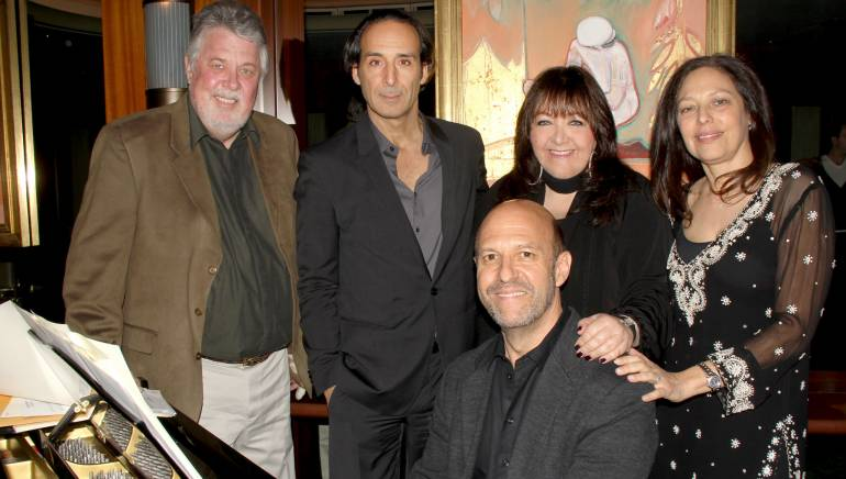 Pictured L-R (back row): SCL President Ashley Irwin, Alexandre Desplat, BMI's Doreen Ringer-Ross, and Partner, Kraft - Engel Management Laura Engel. At the piano: Randy Kerber.