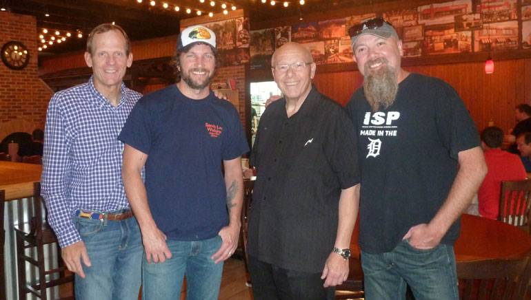 Famous Dave's: Pictured before the shows (L to R): BMI's Dan Spears, BMI songwriter Brandon Kinney, Famous Dave's President & CEO Ed Rensi and BMI songwriter Kendell Marvel.