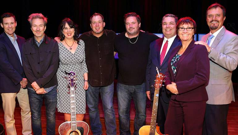 Pictured (L-R) after the performance are: BMI's Brian Mullaney, Tommy Lee James, BMI's Robin Whicker, Phillip White, Dylan Altman, Foundation Vice Chair Steve Shaffer, Foundation Executive Director Kathy Wisnefski and Foundation Treasurer Jerry Schoen, III.