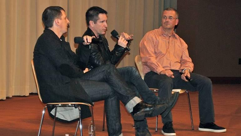 Pictured (L–R): BMI composer Atticus Ross, composer Trent Reznor and Billboard's Phil Gallo.