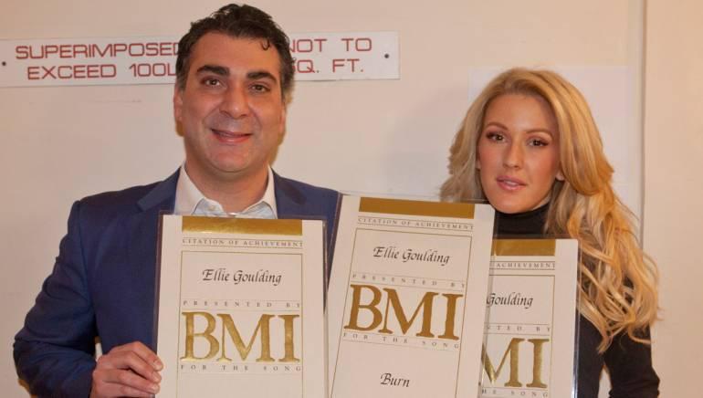 Pictured (L-R): BMI's Brandon Bakshi with BMI writer Ellie Goulding.