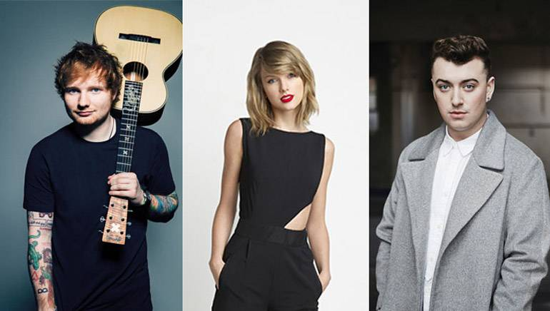 Pictured: Ed Sheeran, Taylor Swift, Sam Smith