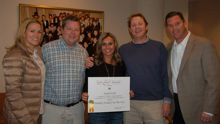 Pictured (L-R): BMI's Leslie Roberts and Bradley Collins, BMI songwriter Tammi Kidd Hutton, and BMI's Clay Bradley and Mark Mason.