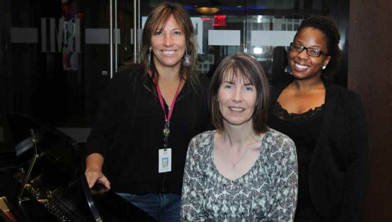 Pictured (L-R) are: BMI's Consuelo Sayago; Tara Bolger, International Manager, IMRO; and BMI's Crystal Ross.