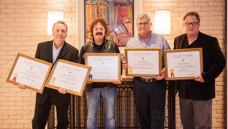 Pictured (L-R): BMI's Jody Williams, BMI songwriter Tom Johnston, BMI's Phil Graham and Sony Music Nashville's Gary Overton.