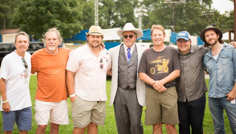Pictured: (L-R): BMI's Jody Williams, producer Paul Worley, BMI's Mason Hunter, BMI songwriter Robert Earl Keen, BMI's Clay Bradley, Musicians Corner's John Tumminello and songwriter Matthew Perryman Jones.