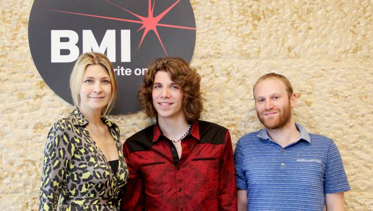Pictured (L-R): BMI's Samantha Cox, Rising Star winner and Capitol Records recording artist Jesse Kinch and BMI's Brandon Haas.