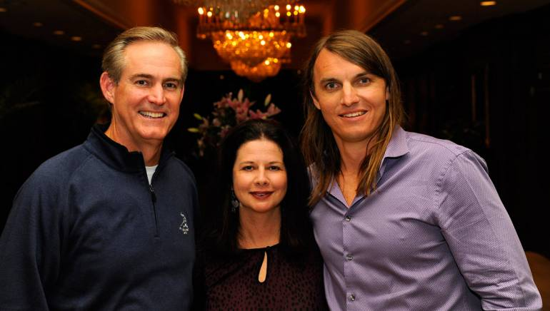 Photographed (L-R) before the performance are: Marriot International Senior Vice President Global Operations and AH&LAEF Golf Classic Chair John Adams, BMI's Jessica Frost and songwriter Colin Lake.