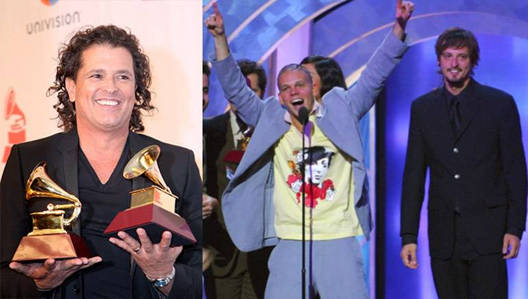 Pictured (L–R): Latin GRAMMY winners and BMI songwriters Carlos Vives and Calle 13 at the 2014 Latin GRAMMY Awards in Las Vegas on November 20, 2014.