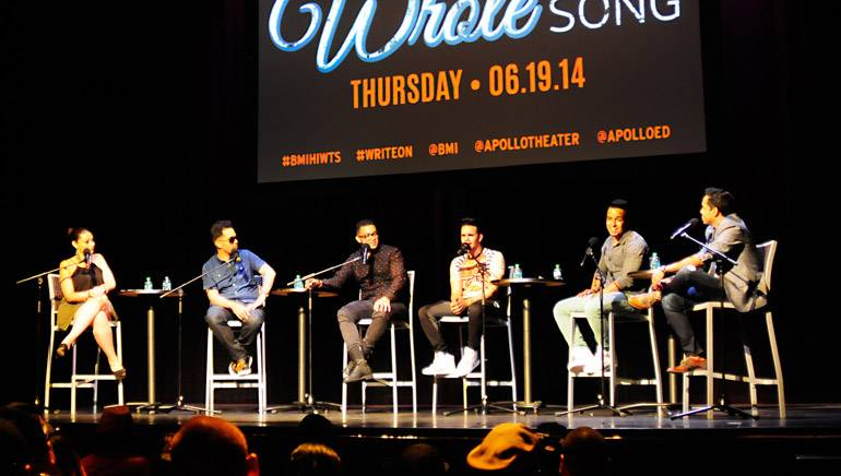 """Pictured L-R at BMI's """"How I Wrote That Song"""" are: La Mega 97.9 on-air radio personality and moderator of the event Jaylah Sandoval with panelists Alcover, Xtassy, Mickey Then and Joell Jaquez from 24 Horas, and sP Polanco."""