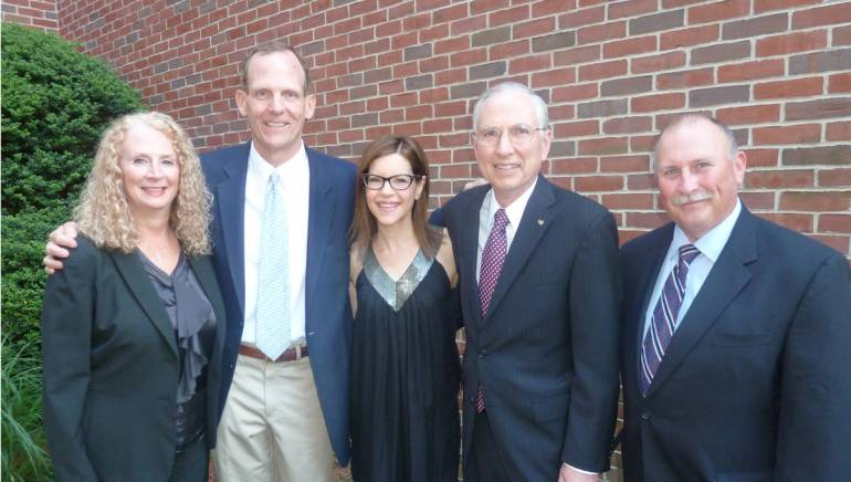 Pictured before the performance (l to r): Hall Communications CFO Janet Hamm, BMI's Dan Spears, Lisa Loeb, Hall Communications President Art Rowbotham, and Hall Communications Vice President Tom Hall.