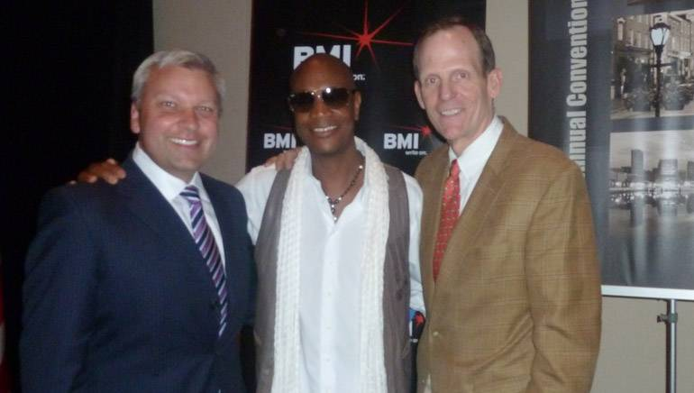 Pictured after his performance (left to right): WBAL-TV President/GM and Chair of the MD/DC/DE Broadcasters Association Board Dan Joerres, Geoff McBride, BMI's Dan Spears