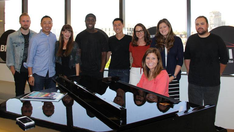 Pictured (L-R): BMI's Justin Seiser, Ray Yee, Jessa Gelt; Mike O; musician Kenny Zhao; BMI's Lisa Feldman, Ashley Saunders; musician Jordan Hayes; BMI's Tracie Verlinde (seated at the piano).