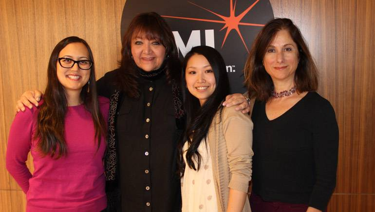 Pictured L-R at BMI's Los Angeles office are: Program Manager UCLA Extension Entertainment Studies Kristen Kang, BMI Vice President Film/TV Relations Doreen Ringer-Ross, BMI/Jerry Goldsmith Film Scoring Scholarship recipient Namiko Mori and Program Director UCLA Extension Entertainment Studies Pascale Cohen-Olivar.