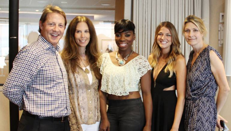 BMI's Clay Bradley and Brooke Morro, songwriters Jessy Wilson and Kallie North and BMI's Samantha Cox pose for a pic at BMI's NY office.