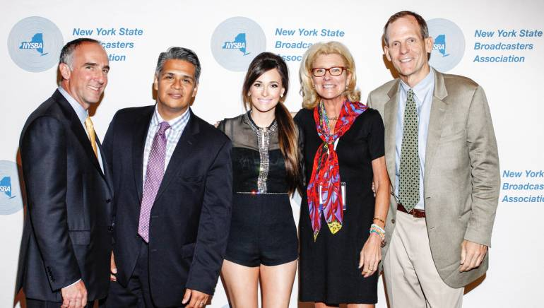 Pictured before Kacey's performance (l to r): NYSBA Board Member and President/GM of WLIG-TV David Feinblatt, NASH-FM Retail Sales Manager Rick Morales, Kacey Musgraves, NYSBA Board Member and NASH-FM General Sales Manager Maire Mason and BMI's Dan Spears.