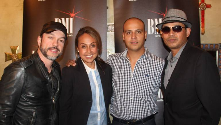Pictured at BMI's Noche Bohemia at El Mariachi in Encino, Calif., on Tuesday, October 21, 2014 (L–R): BMI singer-songwriter Edgar Cortazar, BMI's Delia Orjuela, BMI singer-songwriters Jesus Omar Tarazon and Javier Sanroman.